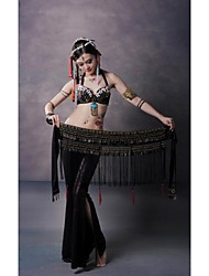 Belly Dance Belt Unisex Performance Training Velvet Beading Copper Coins Tassel(s) Dropped