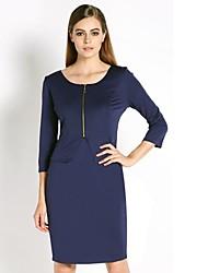 zipper túnica desgaste elegante vestido lápis negócio das mulheres