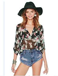 billige -Løstsiddende Dame-Blomstret Net Basale I-byen-tøj Skjorte
