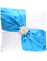 cheap -Elegant Wedding Ring Pillow With Blue Sash & Pearls