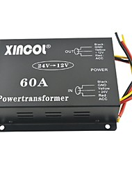 cheap -Xincol® Vehicle Car DC 24V to 12V 60A Power Supply Transformer Converter with Dual Fan Regulation-Black