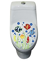 cheap -Wall Stickers Wall Decals, Cute Colorful PVC Removable the Sea World of Toilet Seat Wall Stickers.