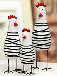 cheap -A Set Of 3 Novelty Painted Chicken Family,Wood
