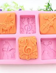 klaver guitar noter formet fondant kage chokolade silicone skimmel kage dekoration værktøjer, l13.7cm * w11.6cm * h2.8cm