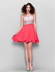 A-Line One Shoulder Short / Mini Chiffon Homecoming Prom Dress with Beading by TS Couture®