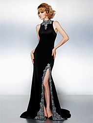 cheap -Sheath / Column High Neck Court Train Velvet Prom Black Tie Gala Dress with Beading by TS Couture®