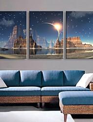 e-home® esticado levou arte impressão em tela o efeito do flash LED piscando vela conjunto de impressão de fibra óptica, de 3 de