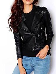 novo zipper arrojado queda de alta qualidade jaqueta de couro pu magro das mulheres