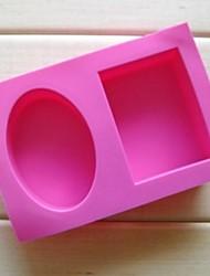 2-Loch Ellipse quadratische Form Kuchen Schokoladenformen, Silikon 18 × 12,2 × 3,8 cm (7,1 × 4,8 × 1,5 Zoll)