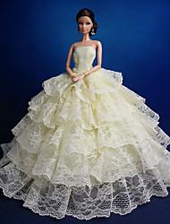 tanie Ubranka dla lalek Barbie-Impreza/Wieczór Sukienki Dla Lalka Barbie Koronka Organza Ubierać Dla Dziewczyny Lalka Zabawka