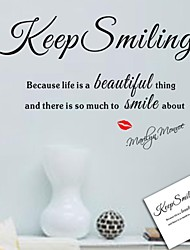 cheap -Wall Stickers Wall Decals, Keep Smiling English Words & Quotes PVC Wall Stickers