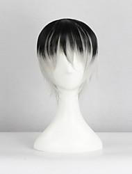 preiswerte -Cosplay Perücken Tokyo Ghoul Ken Kaneki Schwarz / Grau Kurz Anime Cosplay Perücken 40 CM Hitzebeständige Faser Mann