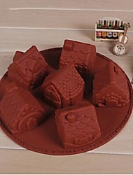 6 Hole Small House Shape Cake Mold