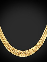 cheap -U7® Foxtail Chain Necklace 18K Real Gold Plated Vintage Chunky Necklace Fashion Jewelry