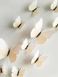 Wandaufkleber Wandtattoo, 12pcs / lot 3D PVC Magnet weißer Schmetterling Aufkleber Hauptaufkleber DIY Wand-Aufkleber.