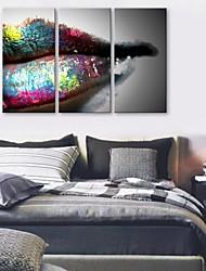 e-FOYER toile tendue lèvres d'art peinture décoration ensemble de trois