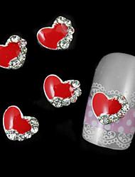 Недорогие -10шт красные аксессуары сердце для ногтей клей для поделок сплава украшения искусства ногтя