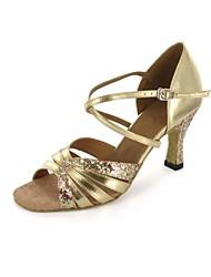 economico -Per donna Balli latino-americani Brillantini Sandali Tacco su misura Oro Personalizzabile