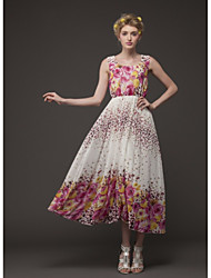 TS Sweety Irregular Imprimir Chiffon Maxi Dress