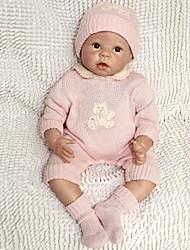 abordables -NPK DOLL Poupées Reborn Bébé 22pouce Silicone / Vinyle - réaliste, Implantation artificielle Yeux bruns, Ton naturel de la peau Fille