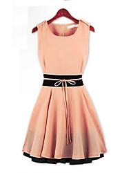 preiswerte -Damen A-Linie Kleid-Lässig/Alltäglich Einfach Einfarbig Rundhalsausschnitt Mini Ärmellos Sommer Mittlere Hüfthöhe Unelastisch Dünn