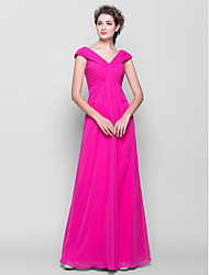 Sheath / Column V-neck Floor Length Chiffon Bridesmaid Dress with Ruching Side Draping by LAN TING BRIDE®