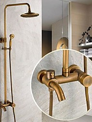 Traditional Shower System Rain Shower Handshower Included Ceramic Valve Three Holes Single Handle Three Holes Antique Brass , Shower