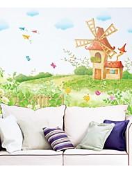 baratos -decalques de parede adesivos de parede, sonho estilo moinho de vento em pvc adesivos de parede