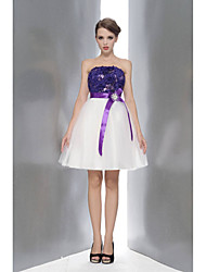 cheap -A-Line Strapless Knee Length Lace / Tulle Bridesmaid Dress with Sequin / Bow(s) / Sash / Ribbon by / Color Block