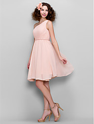 A-Line One Shoulder Knee Length Chiffon Bridesmaid Dress with Side Draping by LAN TING BRIDE®