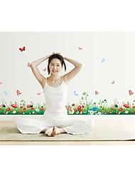 Wall Stickers Vægoverføringsbilleder, style frisk græs græsarealer sommerfugl blomster pvc wall stickers
