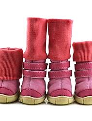 Недорогие -розовые хлопчатобумажные носки&ботинки для собак (ассорти размер)