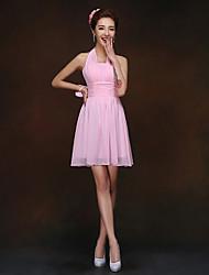 abordables -Funda / Columna Halter Corta / Mini Raso Vestido de Dama de Honor con Fruncido por LAN TING BRIDE®