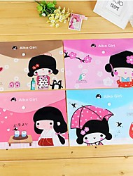 Недорогие -Японская девушка Pattern Пластиковые A4 файл мешок (1 шт случайный цвет)