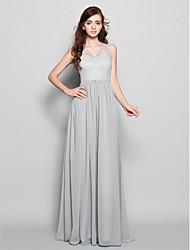 preiswerte -Eng anliegend V-Ausschnitt Boden-Länge Chiffon Brautjungfernkleid mit Schärpe / Band Kristall Brosche durch LAN TING BRIDE®