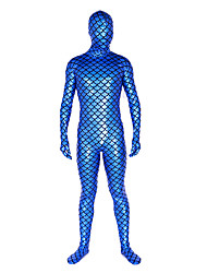 cheap -Shiny Zentai Suits Ninja Zentai Cosplay Costumes Blue Solid Colored Leotard / Onesie Zentai Shiny Metallic Men's Women's Halloween
