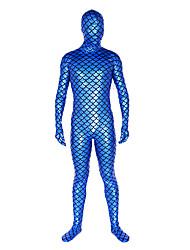 economico -Costumi zentai lucidi Ninja Costumi Zentai Costumi Cosplay Blu Tinta unita Calzamaglia/Pigiama intero Costumi Zentai Metallizzato Unisex