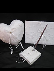 cheap -Wedding Collection Sets WIth Ring Pillow Pen Set Guest Book White
