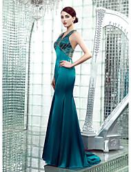 economico -A sirena A V Lungo Raso elasticizzato Retro dell'abito decorato Serata formale Vestito con Perline di