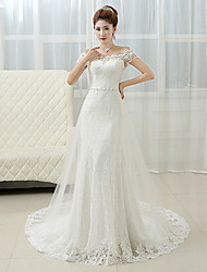 cheap -Sheath / Column Off-the-shoulder Court Train Lace Wedding Dress with Beading Pearl by