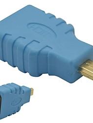 HDMI fêmea para micro macho adaptador HDMI-blue
