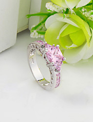 High Quality Fashion Platinum 10 KT Zircon Pink Ring