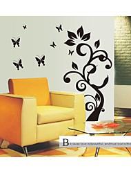 Недорогие -стикеры стены Наклейки на стены, стиль черный цветок дерево ПВХ наклейки
