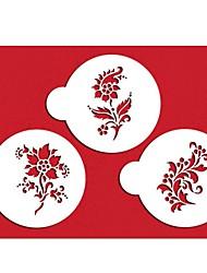 четыре с кофе трафареты цветок трафареты цвет белый, 3шт / комплект ST-315