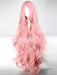 abordables -Femme Perruque Synthétique Long Rose Perruque de Cosplay Perruque Déguisement