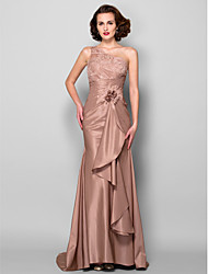Mermaid / Trumpet One Shoulder Sweep / Brush Train Lace Taffeta Mother of the Bride Dress with Beading by LAN TING BRIDE®