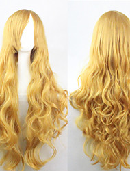 cheap -The new European and American high-temperature Yellow Long Curly Hair Wig80CM