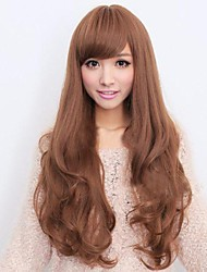 cheap -Synthetic Wig Curly Asymmetrical Haircut / With Bangs Synthetic Hair Natural Hairline Brown Wig Women's Long Costume Wig / Natural Wigs /