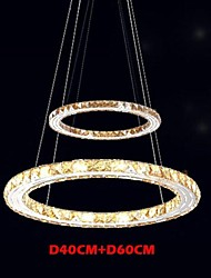 cheap -LED Ceiling Pendant Light Lighting Lamps Modern Fixtures Amber K9 Crystal Round 2 Rings 40CM Plus 60CM