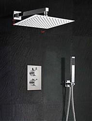 baratos -Contemporâneo Montagem de Parede Termostática with  Vãlvula Latão Duas alças de dois furos for  Cromado , Torneira de Chuveiro